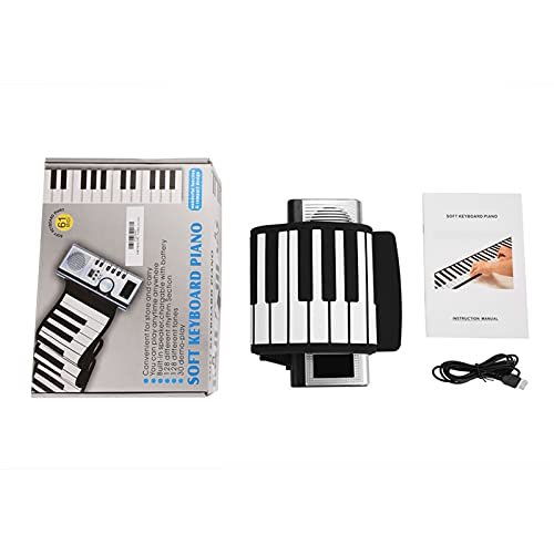 Dilwe Roll Up Piano, Portable 61 Keys Electronic Keyboard Hand Roll for Children Kids Beginners