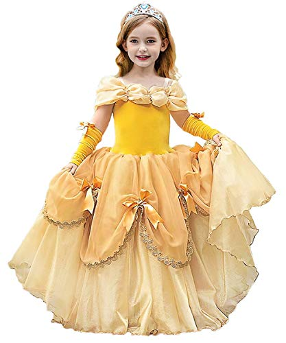 Axaxa Belle Princess Dress Yellow Costume Off Shoulder Layered Dress Up Cosplay Halloween Gown Party for Little Girl 2-9 Years