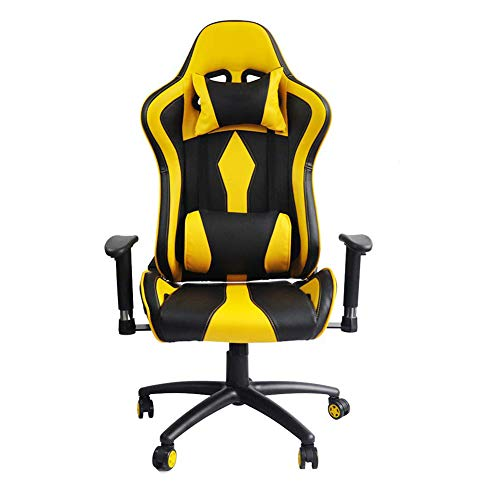Yangangjin Gamingstoel met massage, computerstoel, managersstoel, ergonomische bureaustoelen, gamer stoel voor computer, PU-leer, E-Sport Racing stoelen met voetsteun, lendenkussen, bureaustoel voor PC