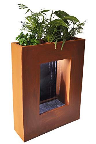 Köhko® Wasservorhang-Brunnen bepflanzbar mit LED-Beleuchtung Höhe 80 cm aus Cortenstahl mit Edelstahl-Pflanzkasten Wasserfall Wasserspiel Zimmerbrunnen 32001H