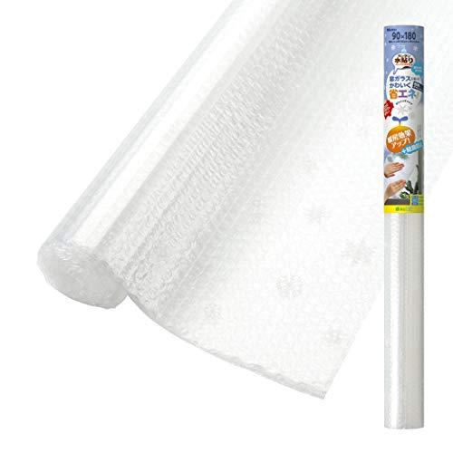 ニトムズ 窓ガラス 断熱デザインシート ホワイトスノー 水で貼れる 結露防止 幅90cm×長さ1.8m 1枚入 E1538