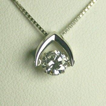 揺れるダイヤモンド ダンシングストーン ダイヤモンドネックレス 一粒 プラチナ ダイヤモンド 0.3ct GIA鑑定書付 0.34ct Dカラー FLクラス 3EXカット GIA