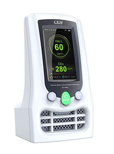 CEM Luftqualität Messgerät Feuchtigkeit Temperatur und Formaldehyd(HCHO)-Messgerät Feinstaubmessgerät Digitales Detektor CO2 PM2.5 PM10 Tester Hygrometer Raumluftüberwachung【3 Jahr Garantie】