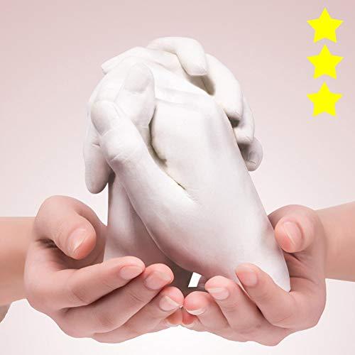 Gifts Keepsakes Holding Hands Casting 3D Adults/Children DIY Kit Paints Couple Hand Keepsake Memory kit with Alginate Anniversary Birthday Wedding Handprint Sculpture Moulds (C)