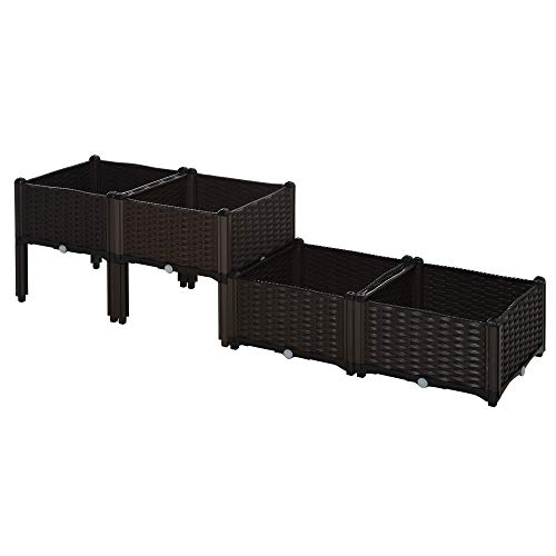 Outsunny Set of 4 Garden Raised Bed Elevated Patio Flower Plant Planter Box...