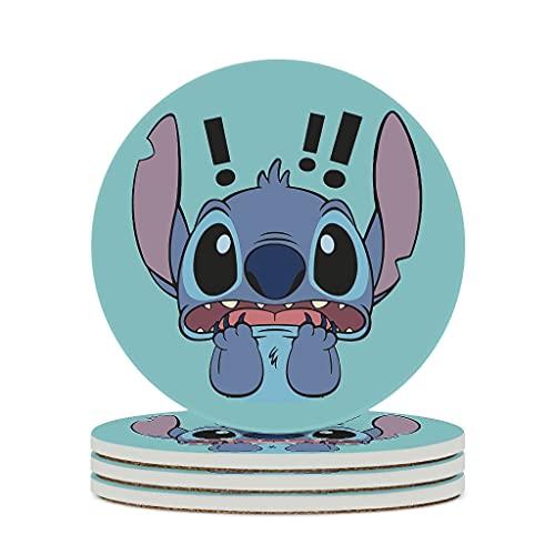 Fineiwillgo Posavasos de cerámica Scared Stitch antideslizante redondo de cerámica con base de corcho, diseñado para mesa de oficina, diámetro de 9,8 cm, color blanco, 6 unidades