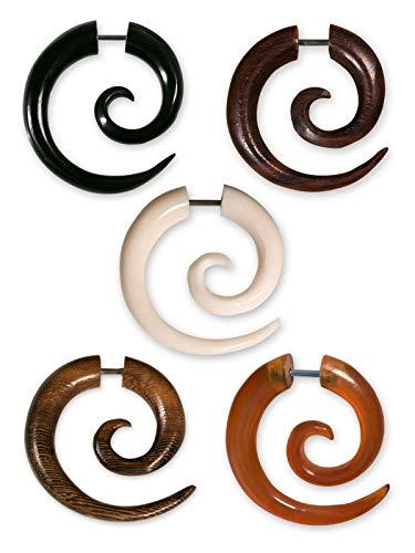 Fly Style 1 Stück Fake Piercing Spirale | Ohrring aus Horn, Knochen oder Holz mit Schraubverschluss, Materialwahl:Horn