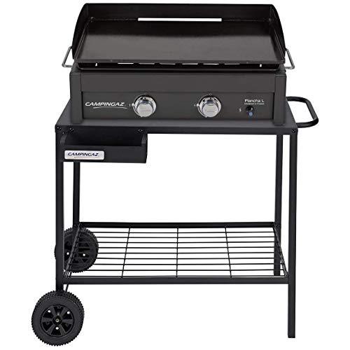 Campingaz Plancha L - Plancha de gas con dos quemadores de acero aluminizado, 7.5 kW de potencia, placa de cocina Teppanyaki + Campingaz 2000025697 Carro accesorio de barbacoa/grill