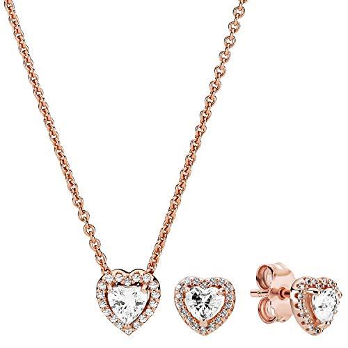 Pandora Geschenk-Set für Damen Funkelndes Herz Kette + Ohrringe 39671