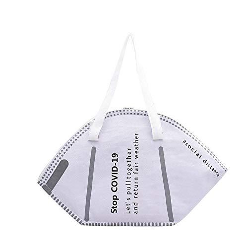 HFDHD Fashion Mask Style Handtasche - Large Capacity Handtaschen Casual Women Canvas Einkaufstaschen Creative Mask Bag White