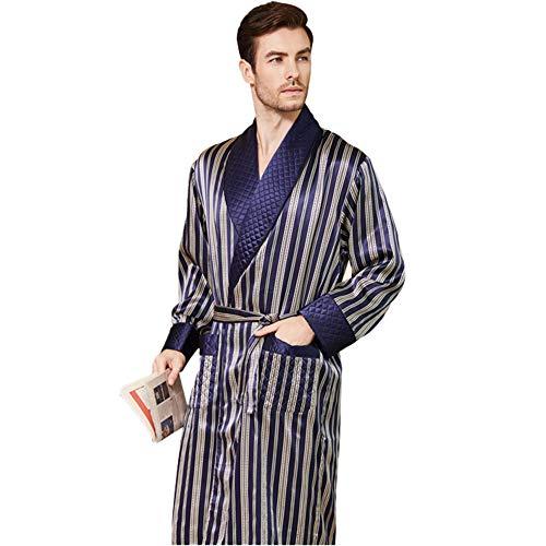 Pijamas De Seda para Hombre Camisón Largo Batas De Baño A Rayas Batas De Seda De Gusano De Seda Azul Ropa De Dormir Engrosada con Cinturón De Faja Ropa De Dormir L-XXL,Azul,L