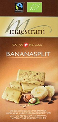 Maestrani Bio Tafelschokolade Bananasplit -Weisse Schokolade mit Bananen, Mandel- und Schokoladensplittern, 15er Pack (15 x 80 g)