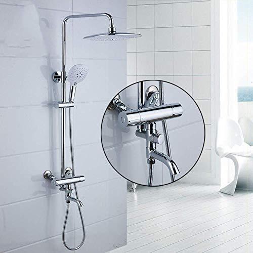 CLJ-LJ Conjunto de ducha pulida cromo, latón mezclador monomando, ducha grifo y 8 'baño de lluvia con ducha de mano