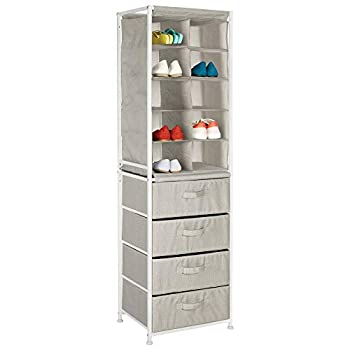 mDesign Soft Fabric Shoe Tower & 4 Drawers Organizer Combination Unit for Bedroom Hallway Entryway Closets - Sturdy Steel Frame Easy Pull Fabric Bins with Handles - Textured Print - Linen/Tan