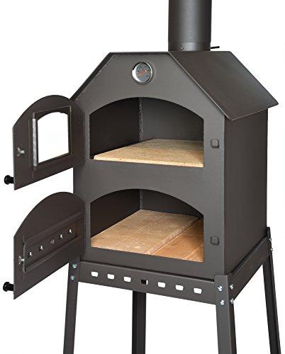 acerto 40487 Profi Pizzaofen für den Garten Schamott-Stein Thermometer Drosselklappe | Pizza-Backofen mit Doppelkammer | Flammkuchen-Ofen mit Gestell | Outdoor Brotbackofen mit Luftregulierung