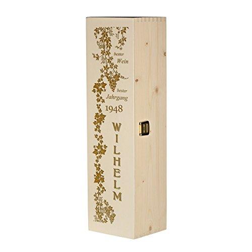 polar-effekt Weinkiste Holzbox mit Gravur – Personalisierte Geschenkbox für Weinflasche Weinpräsent – Aufbewahrungskiste Geschenk zum Geburtstag oder Weihnachten - Motiv des Weins Bester Jahrgang