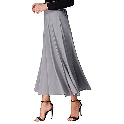 iBaste Falda Largas Vintage Mujer Alta Cintura la Altura del Tobillo Enaguas Plisada Enaguas Bolsillos laterales con Correa Cintura Larga