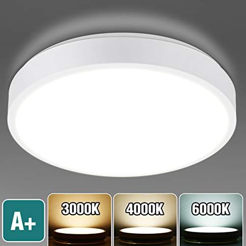KINGSO LED Deckenleuchte 15W Deckenlampe Bad Dimmbar 3000K/4000K/6000K, 1400LM Badleuchte IP54 Wasserfest Badlampe Decke Ideal für Badezimmer Balkon Flur Wohnzimmer, Badezimmerlampe Ø22cm