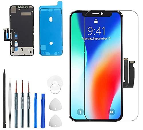 For iphone XR 液晶パネル iphoneXR フロントパネル交換 iphone XR screen replacement フロントパネル 3D液晶パネルタッチスクリーン修理互換用(プロの修理ツール+強化ガラススクリーンプロテクター+防水フレー