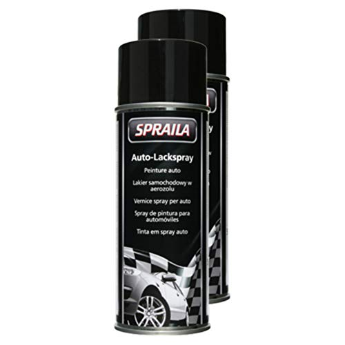 Kwasny 2X Spraila Auto-Lackspray Spraylack Lackspray Spray Lack Schwarz Seidenglanz 400 Ml