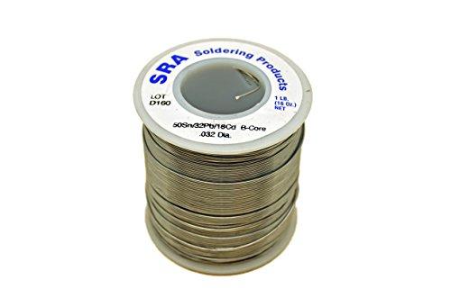 SRA Soldering Products WBCL/M32 Acid Flux Core Low Melt Solder, 50/32/18 .032-Inch, 1-Pound Spool