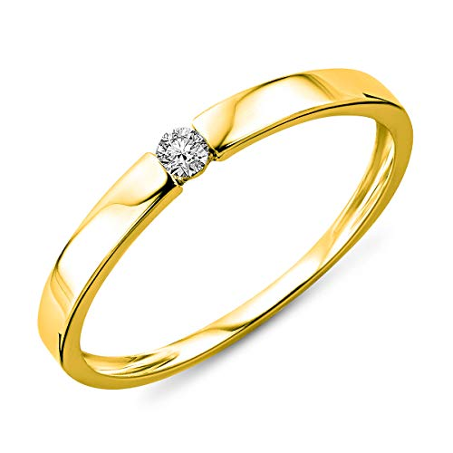 Miore–Anillo de mujer Compromisos Jewels–9KT 375oro amarillo diamante (0.05ct) Blanco redondo filo–min924r60