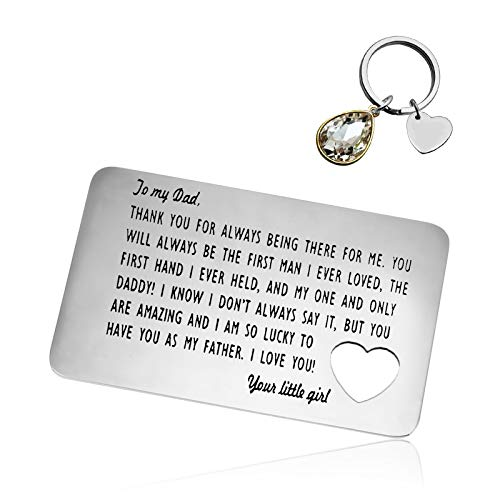 Father's Day Gift Dad Engraved Wallet Insert Card Keychain Set Gift Thank You Gift Appreciation Gift for Dad Father Daddy Papa Wedding Birthday Gift for Dad from Daughter Kids Funny Dad Gift