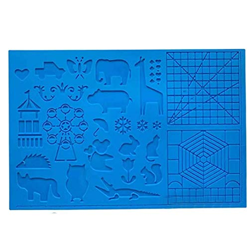 3D Pen Mat,Multi-Shaped Silicone 3D Pen Drawing Template, 3D Printing Mat with 2 Finger Protectors Gift for 3D Beginners/Kids/Adults