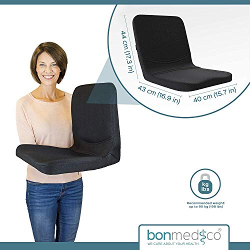 bonmedico All-in-One Foam Seat Cushion - Home Office Gel Comfort for Coccyx/Tailbone & Sciatica Pain Relief with Back Support, Meditation Cushion - Great for Car Seat Cushion or Office Seat