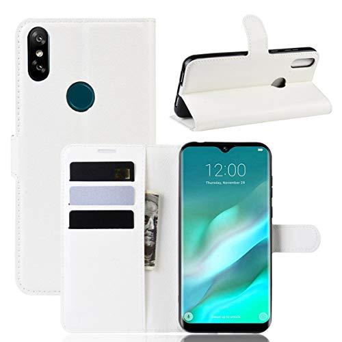 pinlu® PU Leder Tasche Handyhülle Für Doogee Y8 Smartphone Wallet Hülle Mit Standfunktion & Kartenfach Design Hochwertige Ledertextur Weiß
