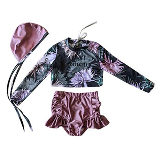 sunnymi - Bañador de dos piezas para bebé con mangas largas y estampado de flores y gorro de flores para niña morado 85/95 cm/20/30 kg
