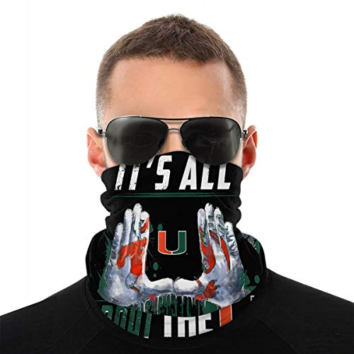 Liuyang Miami Hurricanes All About The U Outdoor Face Mouth Mask Windproof Sports Mask Ski Mask Shield Scarf Bandana Men Woman