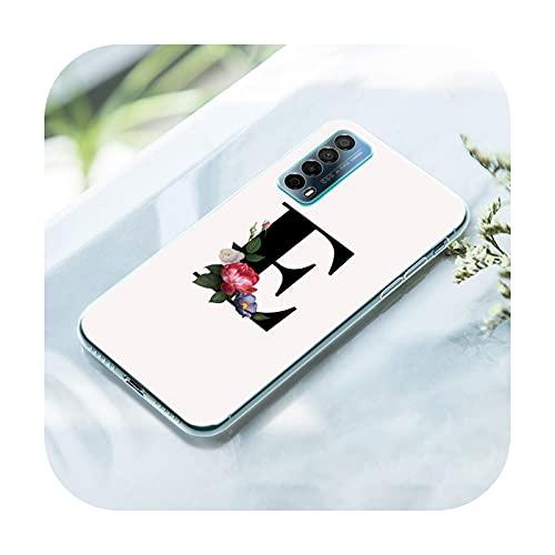 Flower Custom Letter Monogram Case para Huawei P50 Pro P40 Lite E P30 Pro P10 Plus P20 Lite P Smart Z 2021 Pro 2019 Soft Cover-012-P40 Lite E