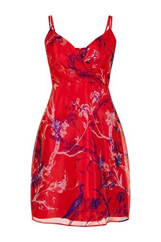 Steps Damen Alicia Organza Dress - A-line Kleid Mit Spaghettiträgern - Transparenter Organza - Wickeleffekt - Botanischer Druck - Rot - Größe 34 Bis 46 Chinesered, 036