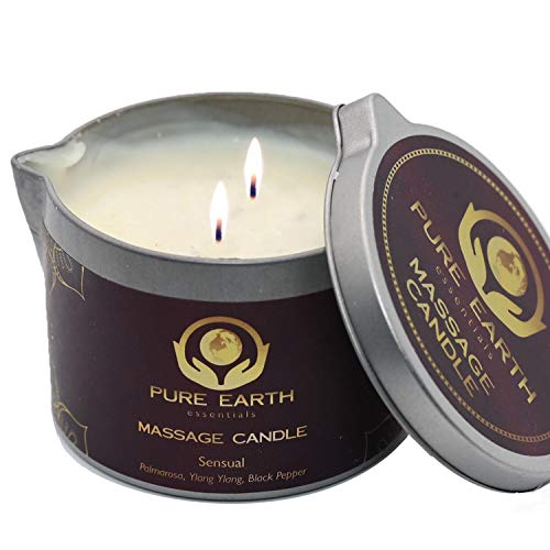 Sensual Massage Oil Candle - Moisturizing Vegan Body Massage Candles for Couples - 100% Plant Based Massage Candle with Palmarosa, Ylang Ylang, Black Pepper in 6 Ounce - by Pure Earth Essentials