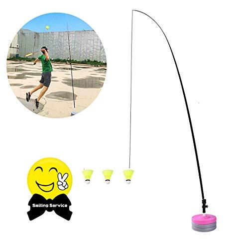 Mixbeek Teleskop Elastic Komplette Badminton-Sets, Rod Trainer Badminton Trainer Potable Teleskop Elastic Rod Selbststudienstrom Rebound Basis Üben Set Für Badminton Learners