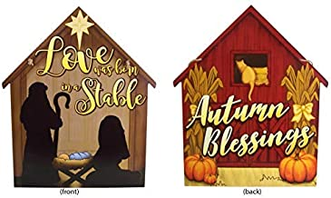 Reversible Autumn Blessings Barn and Christmas Nativity Scene Hanging Door Sign, 17 3/4 Inch