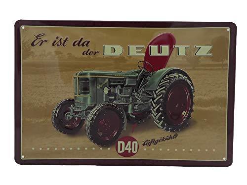 Mehr Relief-Schilder hier... DEUTZ D40 Traktor Köln Trecker Schlepper Bulldog Landwirtschaft Blechschild-Werbung-Reklame-Retro-Marke-Schild-Magnet-Metallschild-Werbeschild-Wandschild