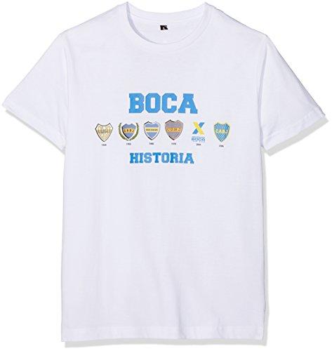 Boca Juniors Camiseta de Hombre con diseño de Logos de la Historia, pequeña, Color Blanco, tamaño Large