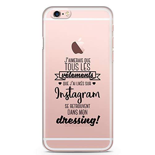 ZOKKO - Carcasa para iPhone 6+/6S+ con Texto J'aimerie Que Todas Las Prendas likés en Instagram se encuentran en mi Dressing – Negro