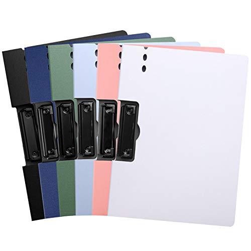 TANCHEN クリップボード クリップファイル A4資料ホルダー 6色セット バインダー 下敷き クリップファイル 書類収納 ファイルケース オフィス用品 業務用 仕事用 事務用 (横型)