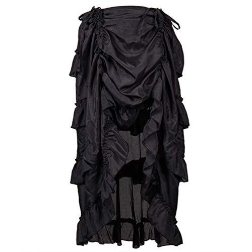 SOIMISS Bauchtanz Zigeunerrock Lange Satin Stammes Kostüm Boho Rock Kleid Halloween Cosplay Versorgung für Performance-Bühne (Schwarz 4XL)