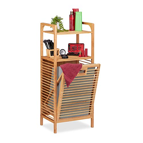 Relaxdays Cesto para la Ropa Sucia, Caja Plegable de Tela, Estantería de bambú, 95x40x30 cm, Marrón/Gris, poliéster