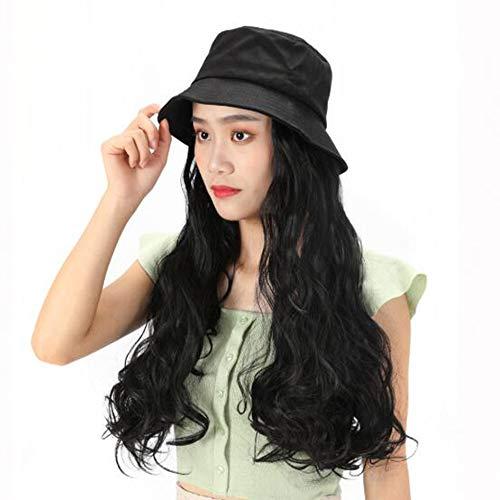 Chapeau cheveux Extensions de baseball avec maïs bouclés synthétique Attached cheveux vague perruque avec chapeau Extensions cheveux Chapeau Noir naturel avec des cheveux
