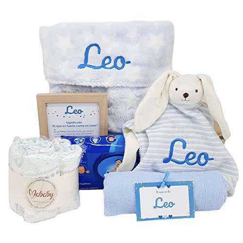 Stars de Mababy   Canastilla Bebé personalizada que incluye Manta y Dou Dou Bordado con el nombre del Recién Nacido. Regalo Bebé… (Azul)