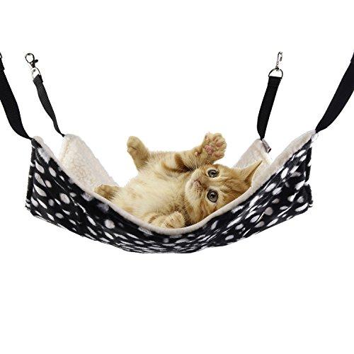 KIWITATA Cat Hammock Bed Pet Cage Hammock,kiwitatá Polka Dot Warm Soft Pet Hanging Hammock Bed Cute Puppy Sleepy Pad for Ferret Rat Kitten Rabbit Puppy (22 x 14 inches,L)