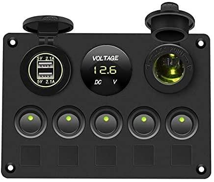 WXking Panel de Interruptor de Barco Panel de Interruptor de Coche Impermeable voltímetro Digital Dual USB Combinación de Salida de Puerto 12V DIRIGIÓ Rocker 5 Gang (Color: Rojo, Tamaño: Gratis)