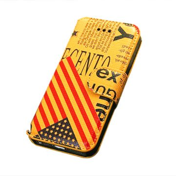 Generic Ultra-Thin National Flag Pattern Stand Case for Iphone5 5S