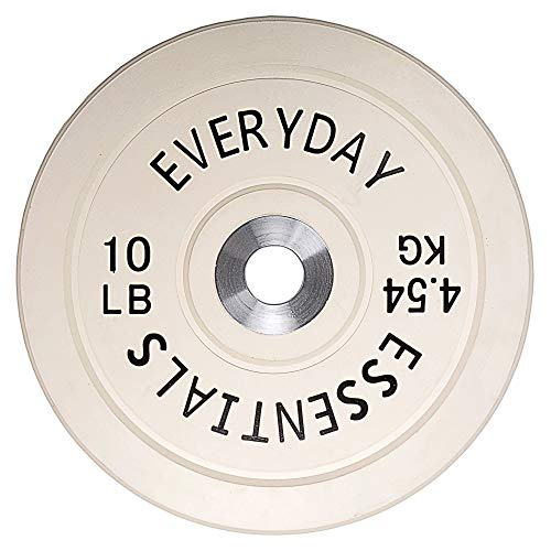 BalanceFrom Everyday Essentials Color Coded Olympic Bumper Plate Weight Plate w Steel Hub