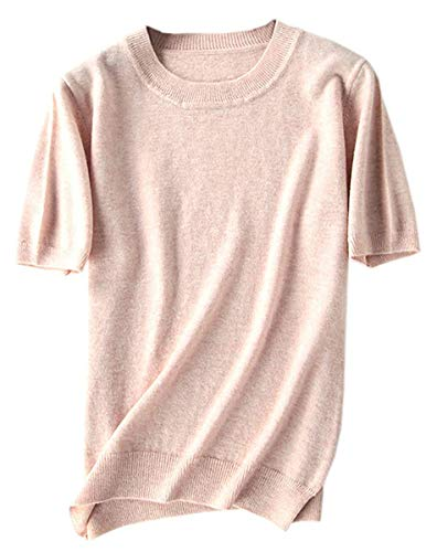 Women's Short Sleeves Knitted Cashmere Sweater Tops T Shirt Blouse, US S, Camel